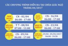Các chương trình sẽ diễn ra tại Chùa Giác Ngộ trong tháng 04/2017